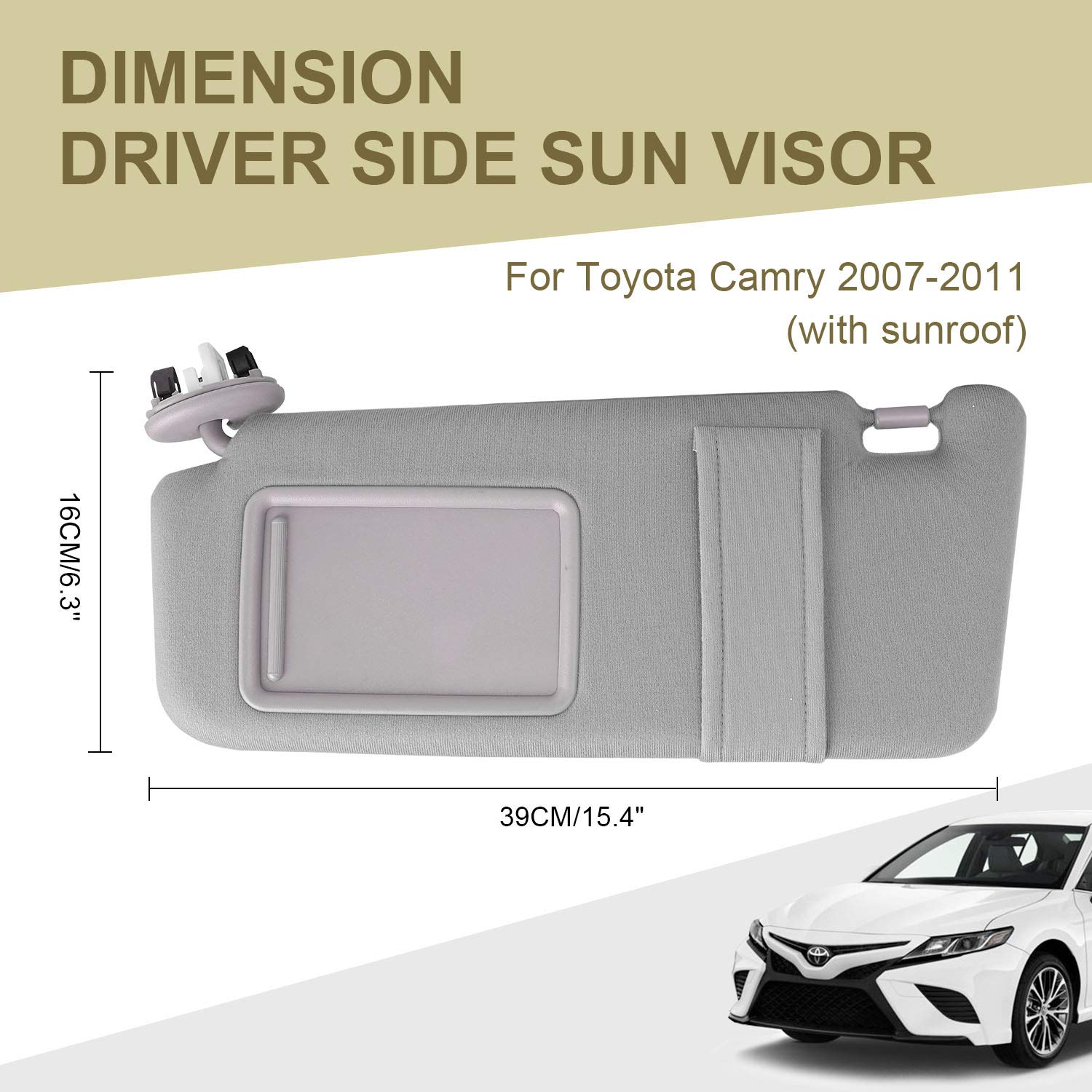 Sun Visor Driver Side with Sunroof and Light for Year 2007 2008 ...