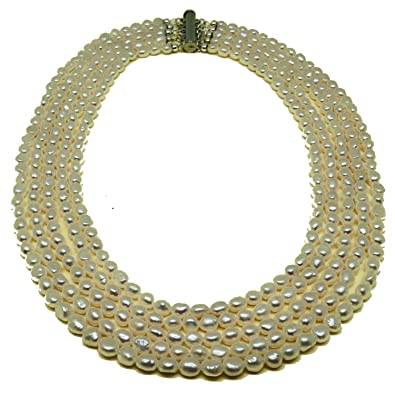 823fe86b97a3 El Coral Collar Perlas Blancas Ovaladas 5x6mm con 5 Tiras Escaladas ...