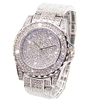 422da8565d8a Luxury Women Watch Bling Bling Fashion Jewelry Crystal Diamond Rhinestone Ladies  Watches Steel Band Round Dial Analog Clock Classic Quartz Female Charm ...