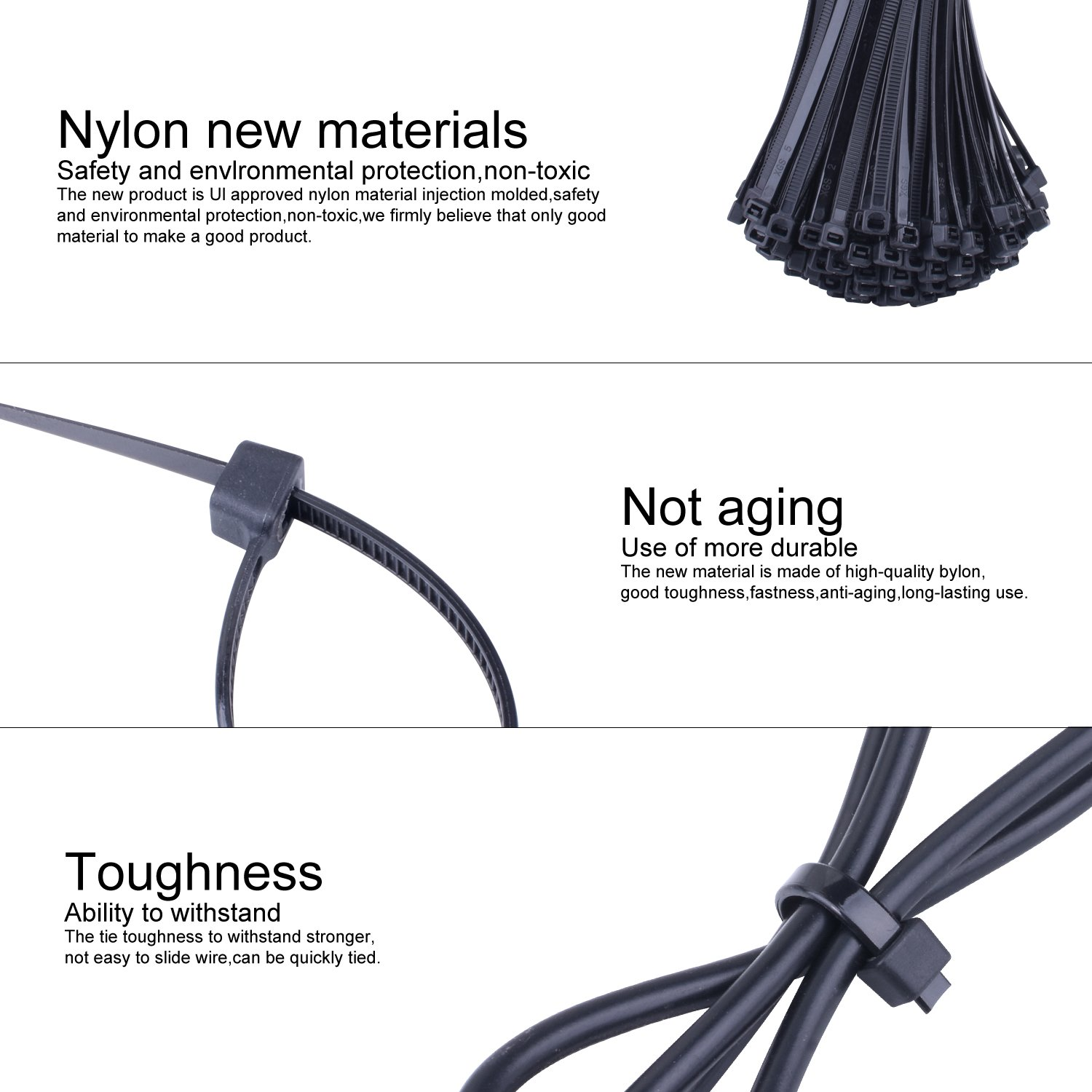 NOUVCOO 250pcs Self-locking Zip Ties Black 10 inches & 100pcs Self-adhesive Cable Tie Mounts Black 0.9x0.9 inch with Screw Holes for Home Office Garden Garage and Workshop NV03 by NOUVCOO (Image #4)