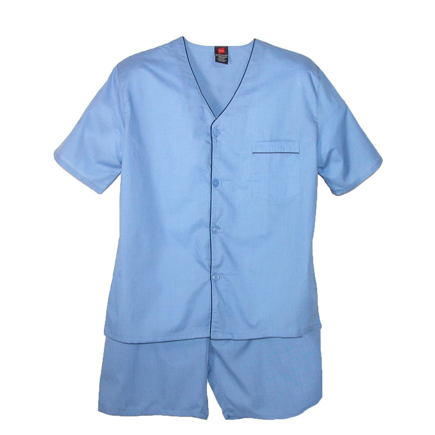 Hanes Men's Short Sleeve Short Leg Pajama Set, XL, Blue by Hanes