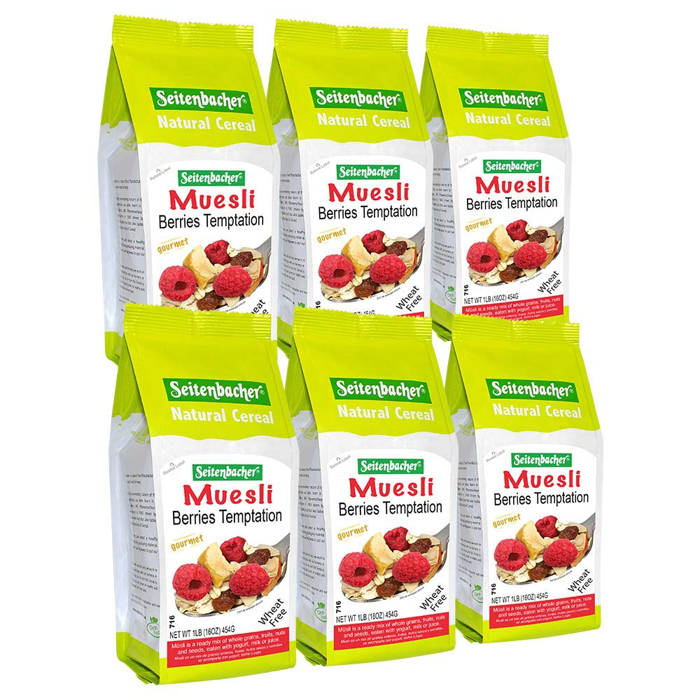 Seitenbacher Muesli #2 Berries Temptation, 16 Ounce, Pack of 6