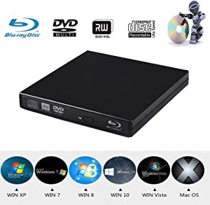 Xglysmyc USB2.0 External Blu Ray CD DVD Drive Burner,Slim Portable CD DVD RW BD-ROM Player Writer for Laptop Desktop Notebook Support Mac OS Windows XP/7/8/10 (Black)