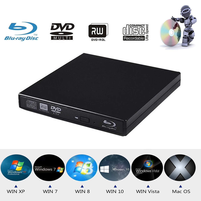 Xglysmyc USB2.0 External Blu Ray CD DVD Drive Burner,Slim Portable CD DVD RW BD-ROM Player Writer for Laptop Desktop Notebook Support Mac OS Windows XP/7/8/10 (Black) by Xglysmyc
