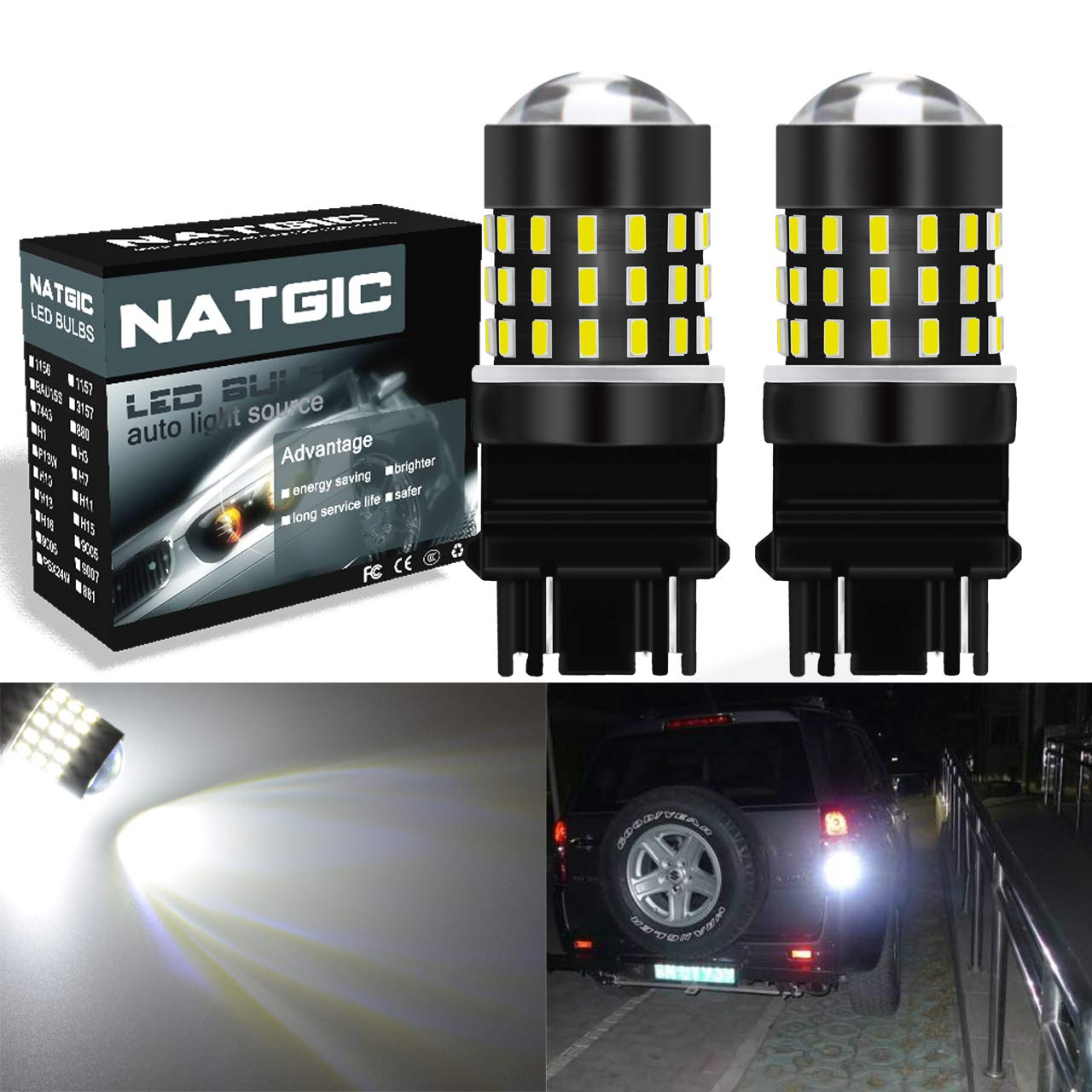 NATGIC 3157 T25 LED Bulbs 1200LM Amber Extremely Bright 48-SMD 4014 LED Chipsets 3156 3057 4057 4157 LED Bulbs with Projector for Turn Signal Lights Tail Backup Reverse Lights Pack of 2