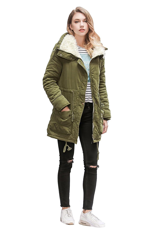 91d2be9a8 ACE SHOCK Women Plus Size Winter Coats Faux Fur Lined Parka Cotton Padded  Jacket at Amazon Women's Coats Shop