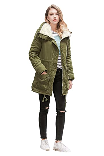 c0a20bf39 ACE SHOCK Women Plus Size Winter Coats Faux Fur Lined Parka Cotton Padded  Jacket