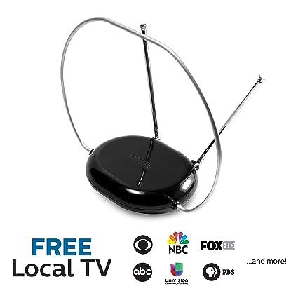 Philips Rabbit Ears Black Indoor TV Antenna, Dipoles and Circular Loop,  Tabletop Antenna, Digital, Smart TV Compatible, HDTV Antenna, 4K 1080P VHF