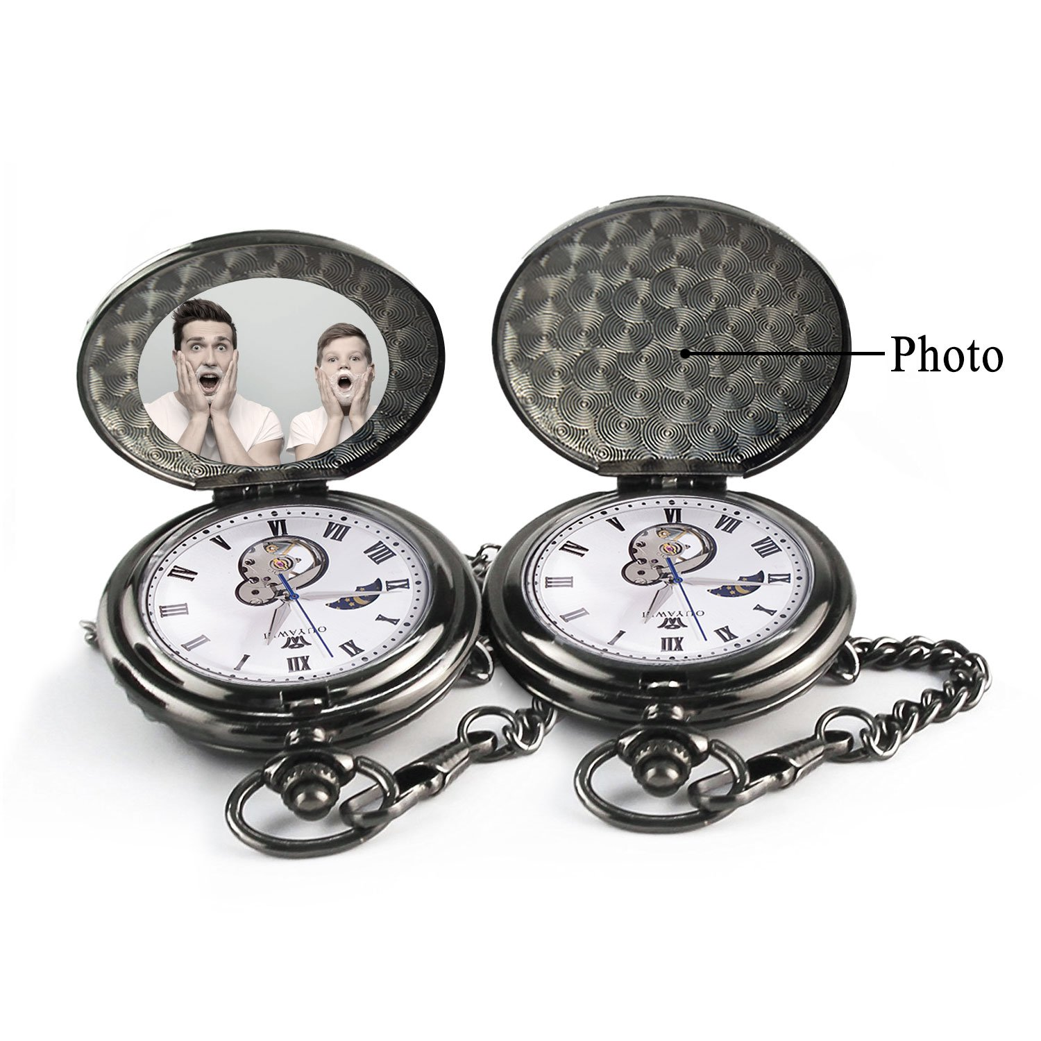 To My Son Love Dad Pocket Watch for Son Gifts from Dad (Love Dad Black Mechanical Pocket Watch) by Ginasy (Image #2)