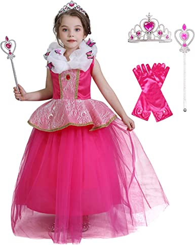 SOVIKER Girls Flower Party Dress Long Princess Gown Tulle Lace Wedding Evening Formal Pageant Dress
