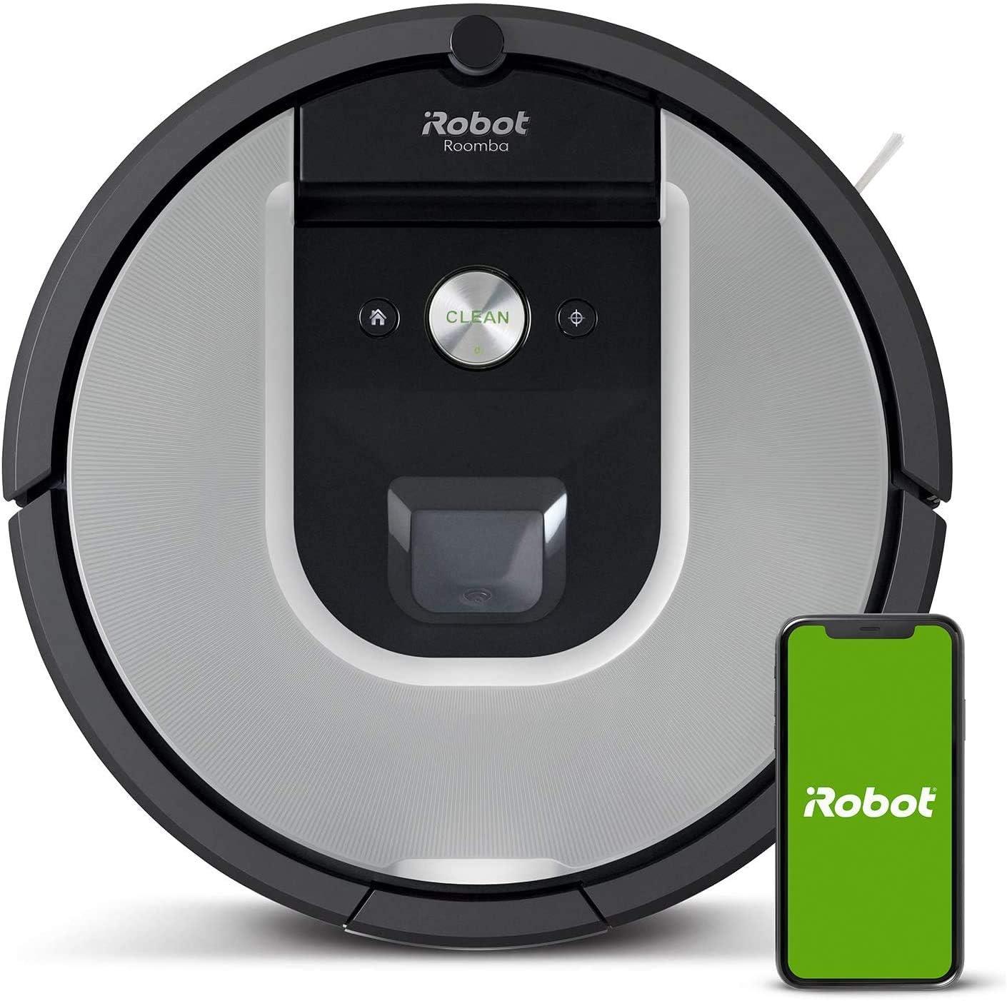 Robot aspirador iRobot Roomba 971 Alta potencia, Recarga y sigue limpiando, Óptimo para mascotas, Dirt Detect, Se coordina con Braava jet m6, Sugerencias personalizadas, Compatible con asistentes voz