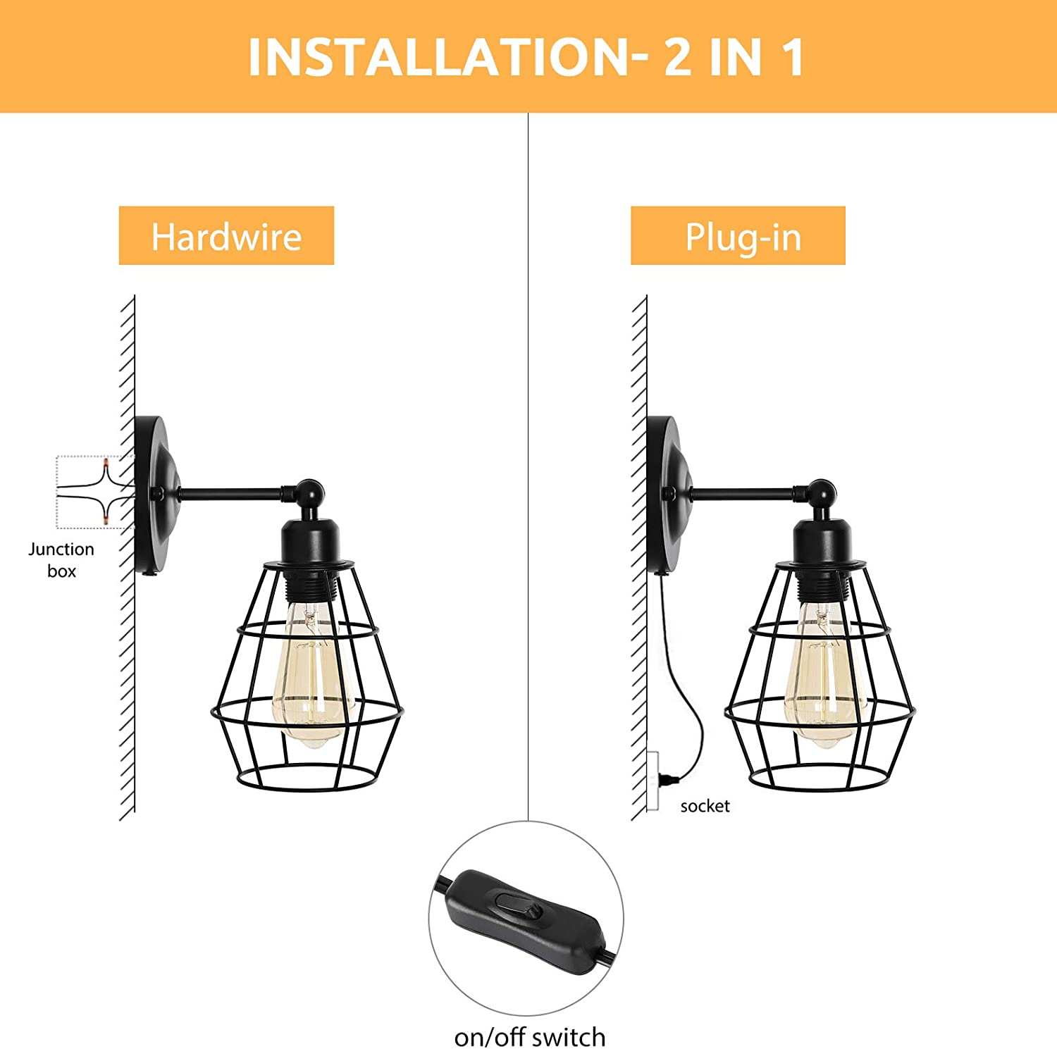 Hardwired Industrial Wire Cage Wall Sconce Lamp with Plug in Cord for Bedroom Headboard,Bathroom Vanity Mirror Vintage Swing Arm Wall Light E26 Base HAITRAL Plug in Wall Sconce