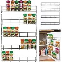 Neotechs Rack Rangement Mural Pots Epices Chromé 3 étagères Pour Mur ou Placard Cuisine (24 pièces)