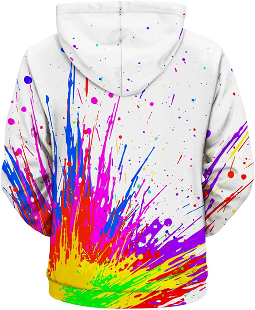 3D Men Splash Paint Print Rainbow Hooded Sweatshirts Unisex Pullover Outwear