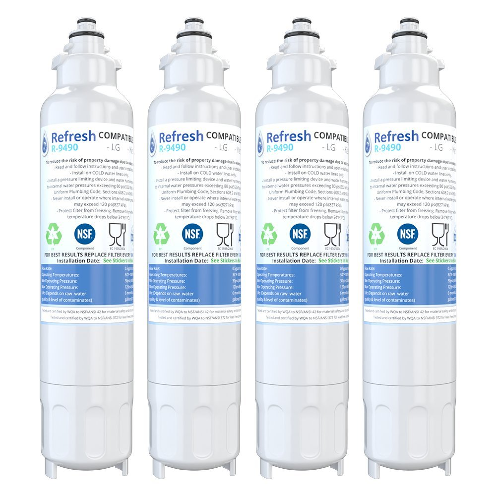 Refresh Replacement for LG LT800P, ADQ73613401 and Kenmore Elite 46-9490, 9490, 469490, ADQ73613402 Refrigerator Water Filter (4 Pack)