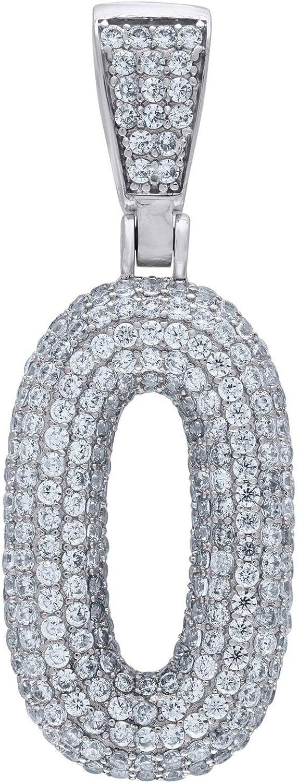 Premium Bling 925 Sterling Silver 48mm Pendant Number 0-0
