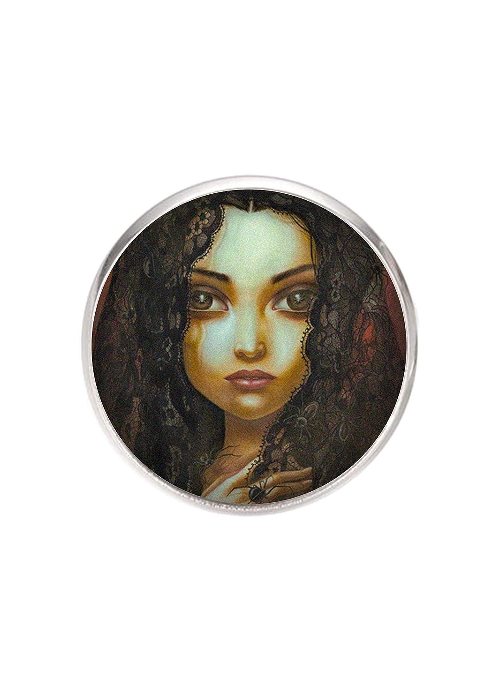 Durchmesser 25mm handgemachte Illustration Puppe auf B/ücher Edelstahl Brosche Stift 0,7mm