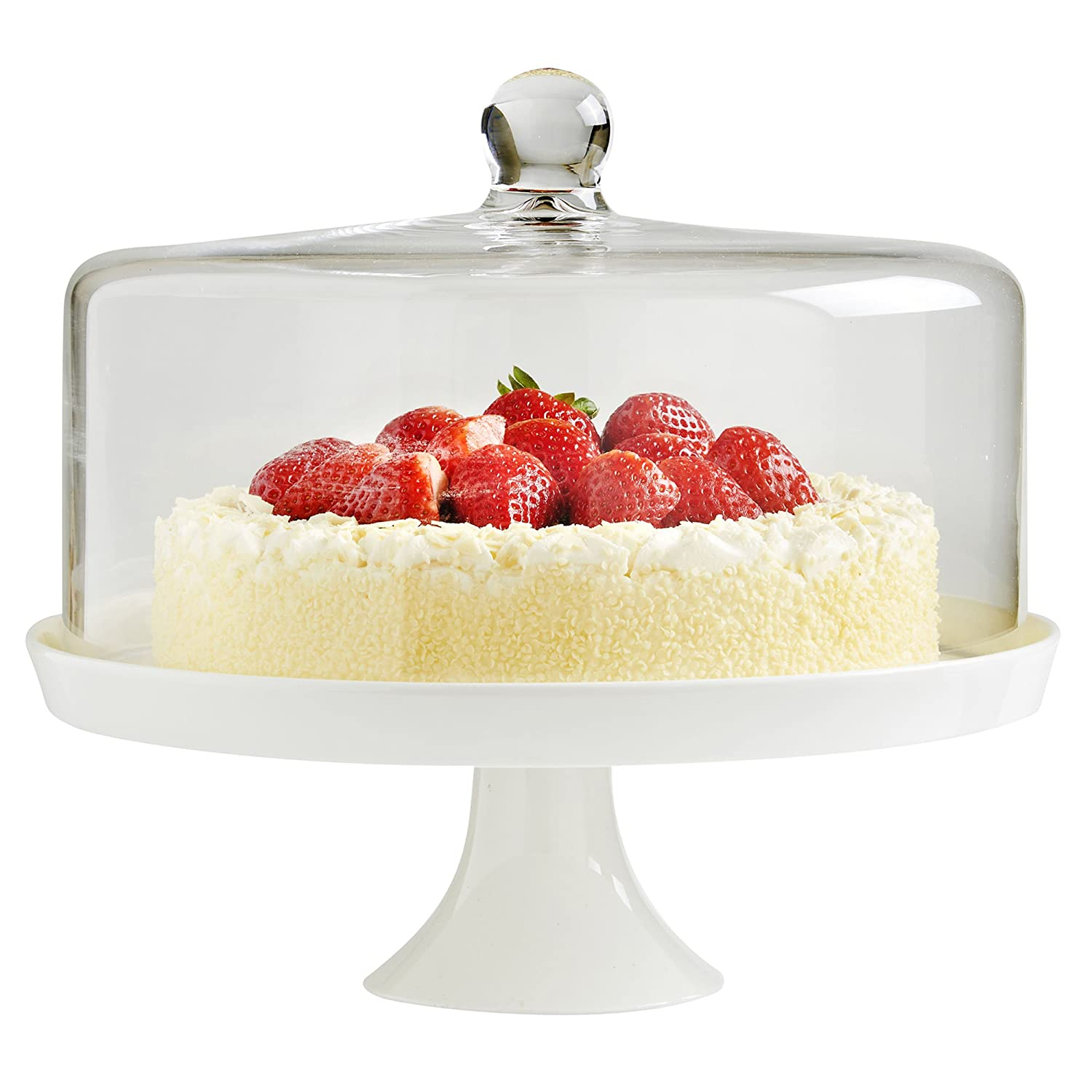 vonshef white ceramic cake stand with glass dome lid 30cm amazoncouk kitchen u0026 home