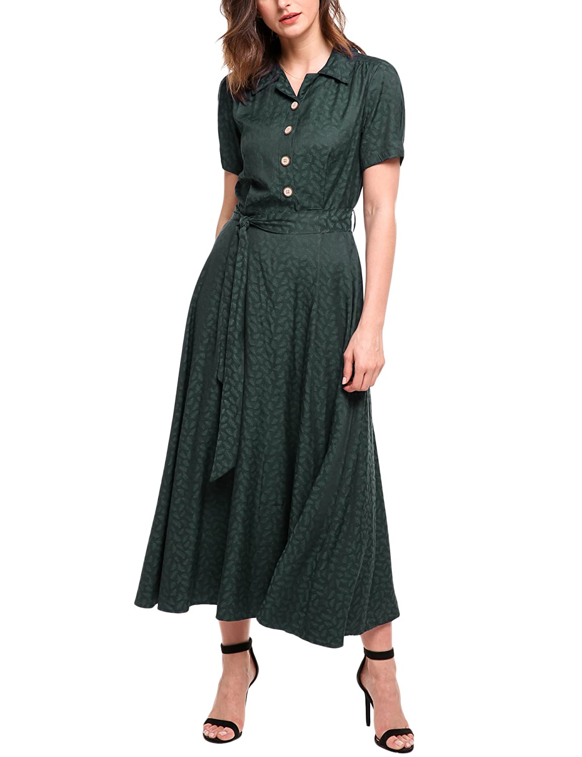 Agent Peggy Carter Costume, Dress, Hats ACEVOG Women Vintage Style Turn Down Collar Short Sleeve High Waist Maxi Swing Dress with Belt $38.99 AT vintagedancer.com