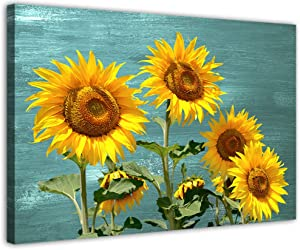 Sunflower Decor Rustic Décor for Bathroom The Home Country Kitchen Decorations Theme Sets Themed Farmhouse Teal Wall Artwork Modern Art Canvas Print for Living Room Wall Turquoise Yellow