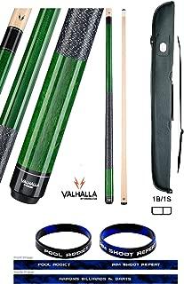 product image for Valhalla by Viking 2 Piece Pool Cue Stick Green VA115 Irish Linen Wrap 18-21 oz. Plus Cue Case & Bracelet (Green VA115, 20)