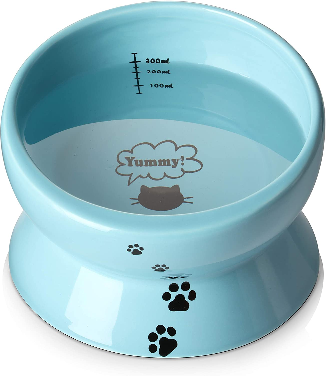 Y YHY Ceramic Raised Cat Food Water Bowl, 15 Ounce Slanted Cat Bowl, Tilt Angle Protect Cat's Spine, Stress Free, Backflow Prevention, Gift for Cat, Cat Dish, Lake Blue