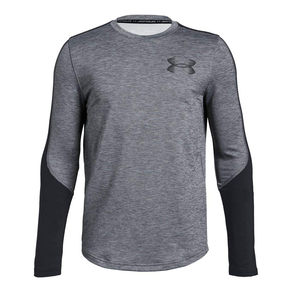 Under Armour Boys ColdGear Crew, Graphite Light Heath (040)/Black, Youth Large by Under Armour