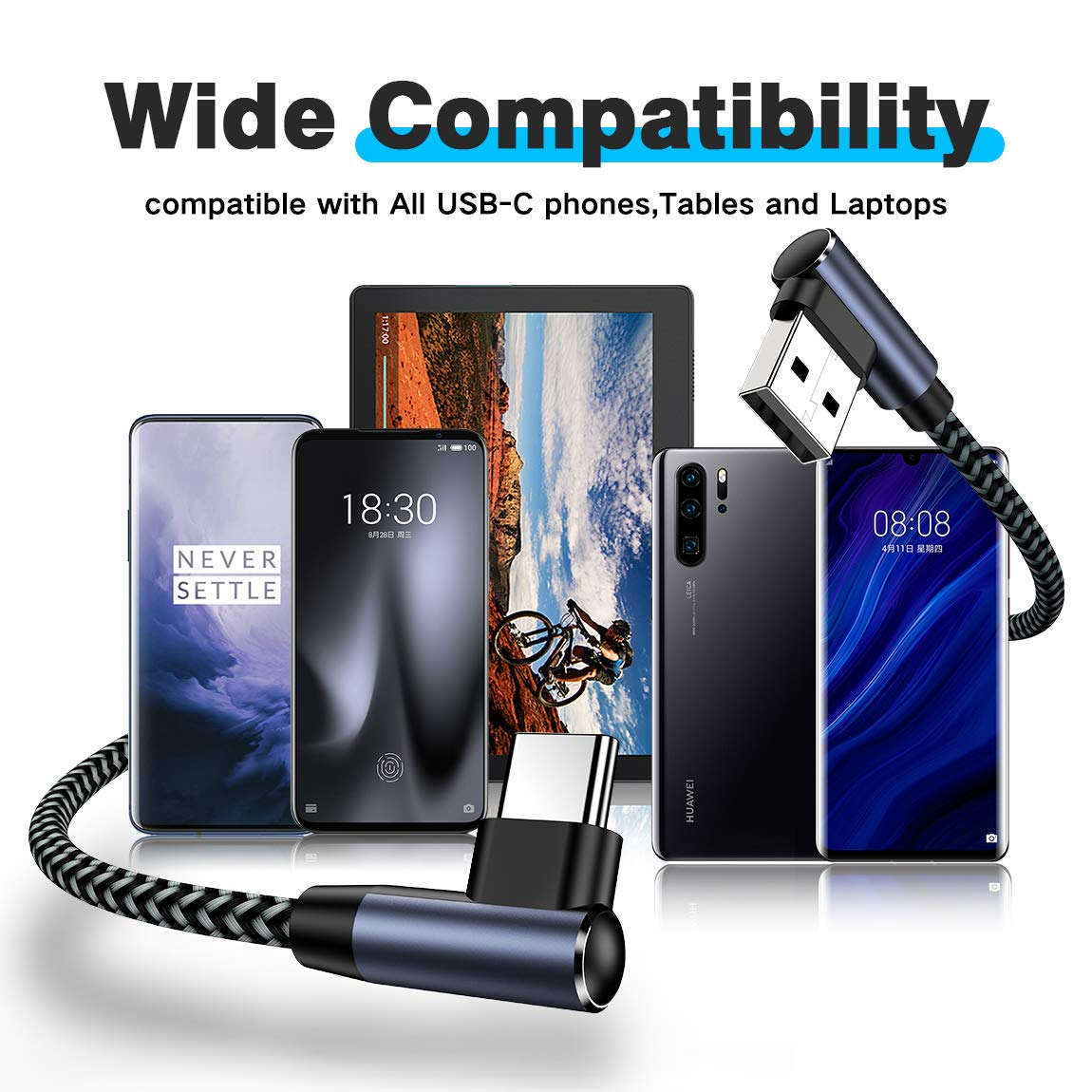 Short USB C Cable 1ft 90 Degree Right Angle USB A to Type C Fast Charger Braided Cord Compatible for Samsung Galaxy S10 S9 Plus S8 Note 9 8 LG G8//7 V40 V20 V30 G6 G5 2018 iPad Pro AOJI 4pack