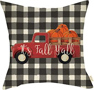 Fjfz Farmhouse Decorative Throw Pillow Cover It's Fall Y'All Red Pumpkin Truck Sign Autumn Thanksgiving Holiday Buffalo Plaid Decoration Home Décor Cotton Linen Cushion Case for Sofa Couch 18