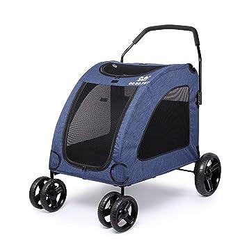 Carrito De Perro Grande para Mascotas con Ventana Superior Adecuado para 15-45 Kg - Trolley De Perro con Ruedas Y Bolso Organizador A Juego,Blue: Amazon.es: ...