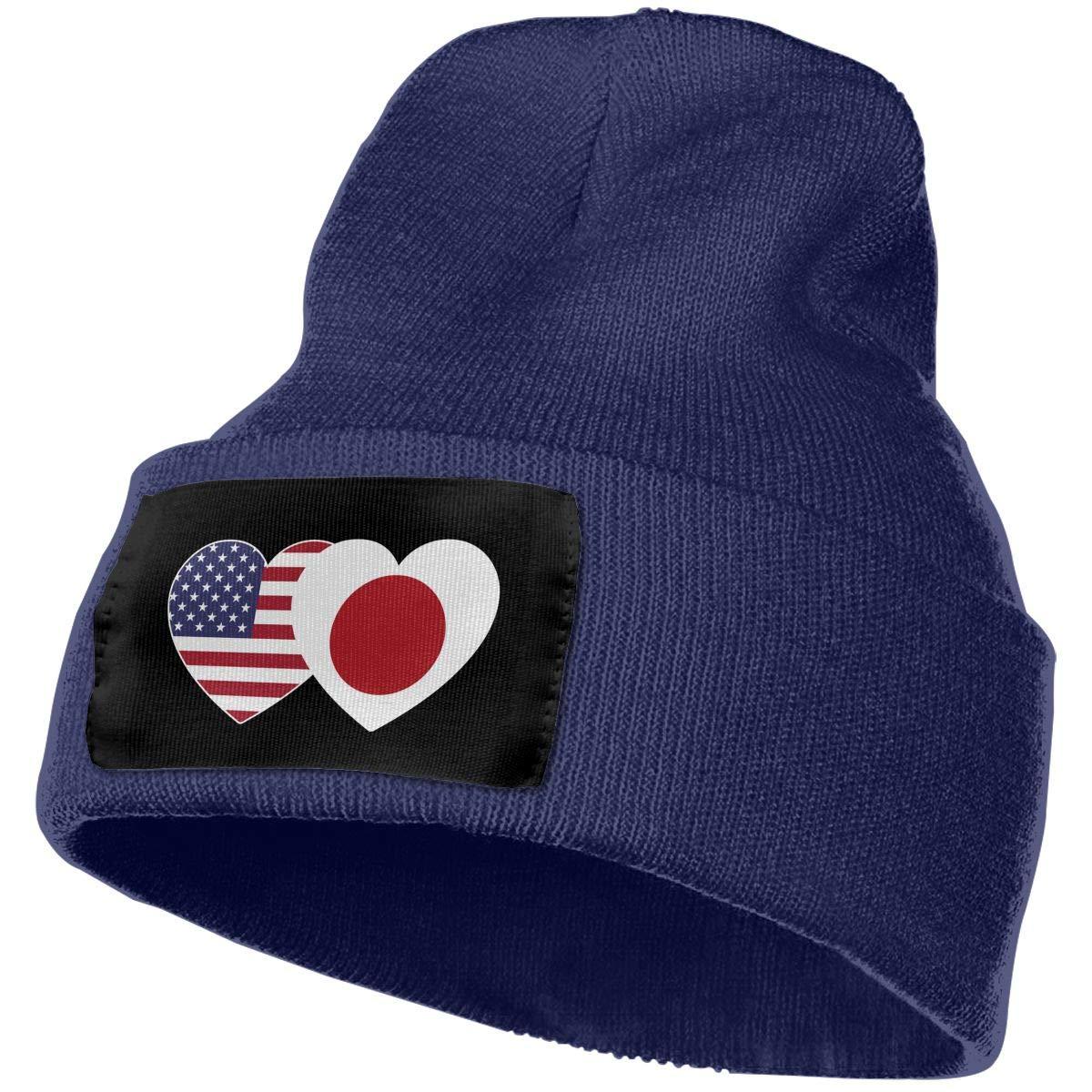 QZqDQ Japan USA Flag Twin Heart Unisex Fashion Knitted Hat Luxury Hip-Hop Cap