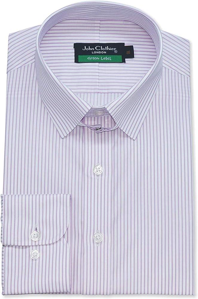 Hombre Tab Cuello Lila Rayas Blancas Camisa 100% Algodón Bucle Cuello Manga Larga Individual Puño Hombre 500-03 - Lila Rayas Blancas #500-03, 14.5: Amazon.es: Ropa y accesorios
