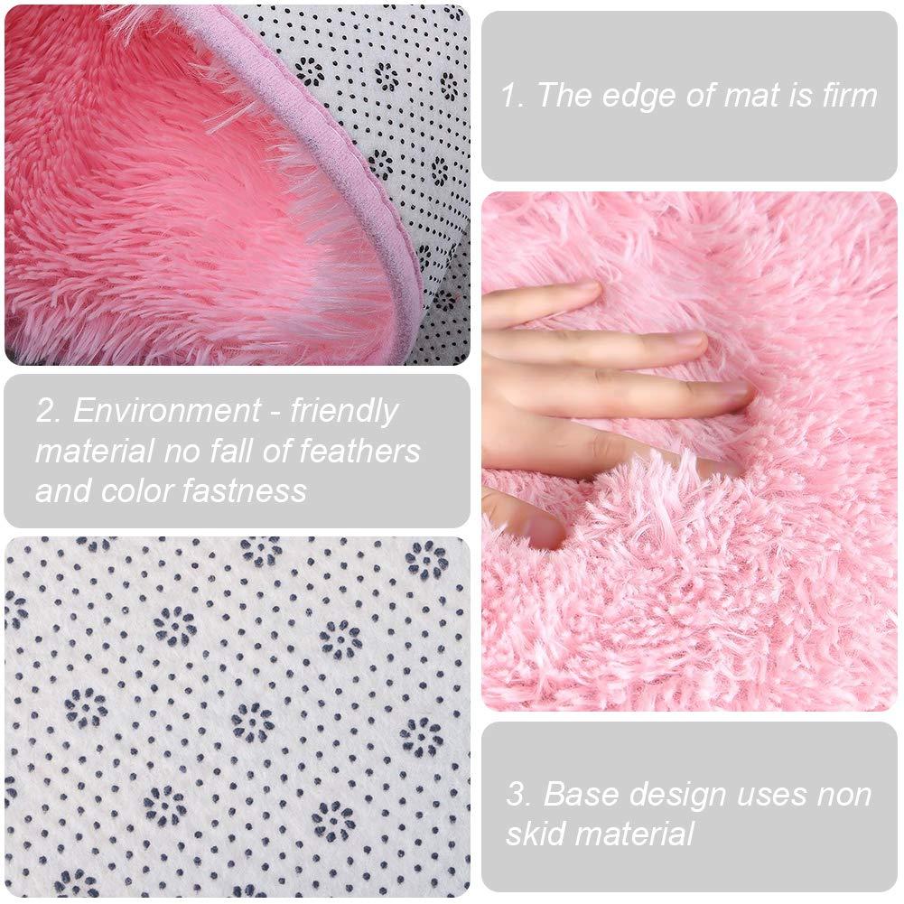 Rosa Alfombra Infantil Magicdun Alfombra Pad Coral Fleece para Ni/ñas Alfombra Lavable en Lavadora 125 x 125cm