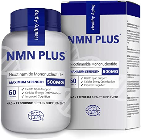 Maximum Strength NMN Capsules, 500mg, Naturally Boost NAD+ Levels for Mental Performance & Anti Aging Supplement(60 Count(Pack of 1)