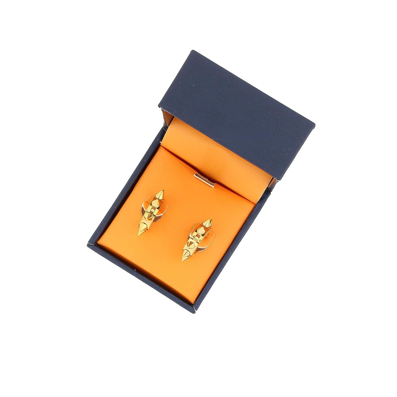 Arrow Jewelry Stainless Steel Spike Huggie Hoop Gold-Tone IP-Plated Round Earrings