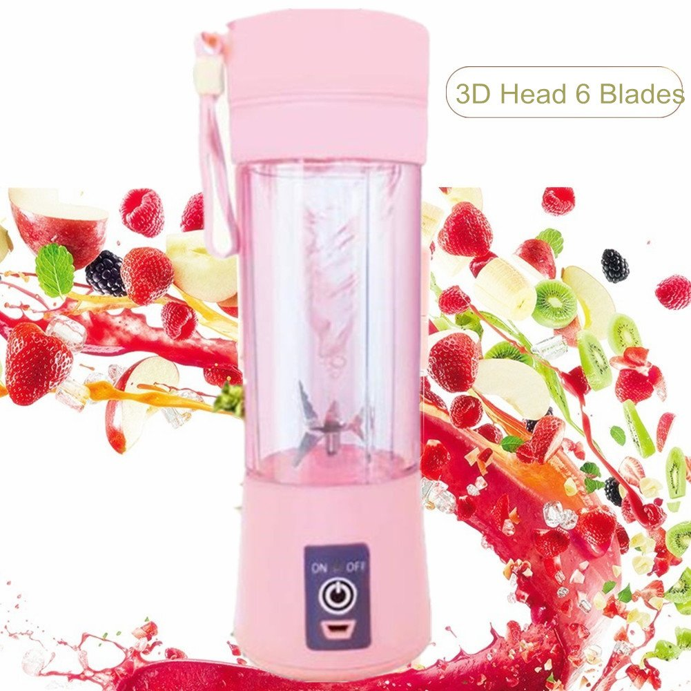 Nuoen Portable Juicer Blender Cup Travel Personal Blender Rechargeable Fruit Mixing Machine For Baby 6 Blades In 3D 380ml (Pink)