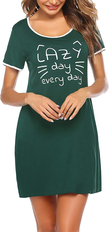 untlet Camicia da Notte da Donna a Maniche Corte Realizzata in Stampa Scoopneck Pigiama da Notte Camicia da Notte da Notte con Tasca Frontale