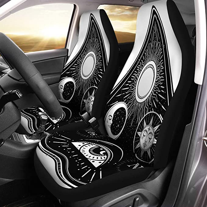 Semtomn Set of 2 Car Seat Covers Vintage Magic Ouija Board Oracle Antique Boho Chic Halloween Universal Auto Front Seats Protector Fits for Car,SUV Sedan,Truck