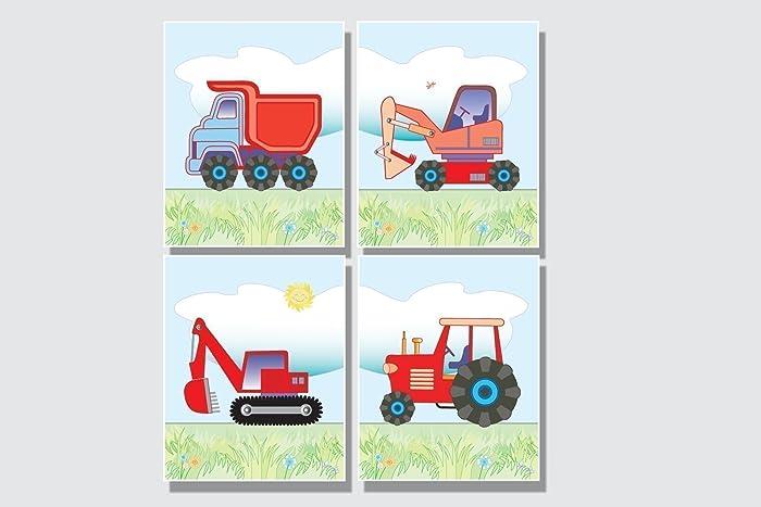 Amazon.com: Boys Room Tractor Wall Art Construction Pictures Boys ...