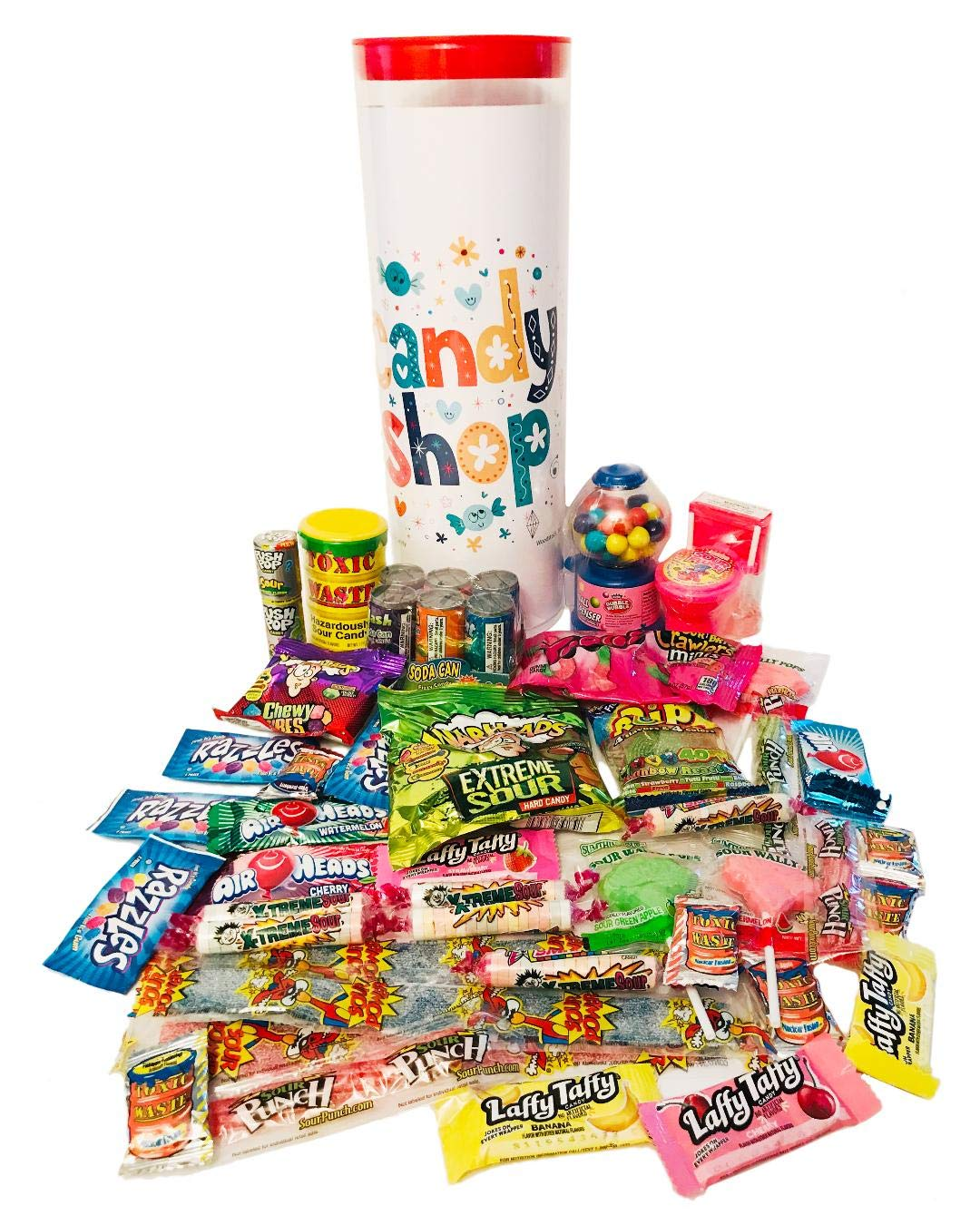 Childrens Birthday Celebration, Get Well Candy Gift Tower Assortment - Toxic Waste, Warheads Extreme, Laffy Taffy, Airheads, Belts, Sour Flush Candy, Nuclear Fusion, Bubble Gum Dispenser, Smarties