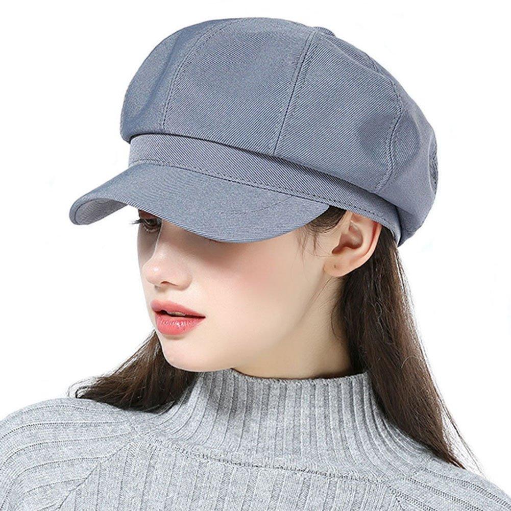 HH HOFNEN Unisex Cotton Plain Newsboy Cap Cabbie Painter Beret Hat (Blue)
