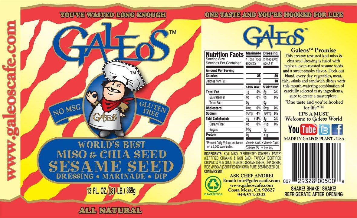 Galeos Miso Sesame Dressing, 13 Oz (Pack of 2)