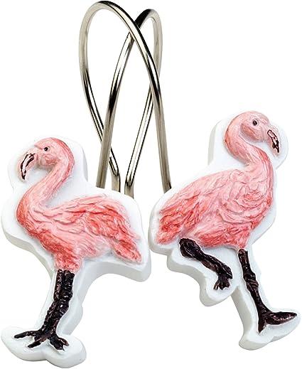 Amazon.com: India Ink Flamingo Shower Curtain Hooks One Size Pink ...