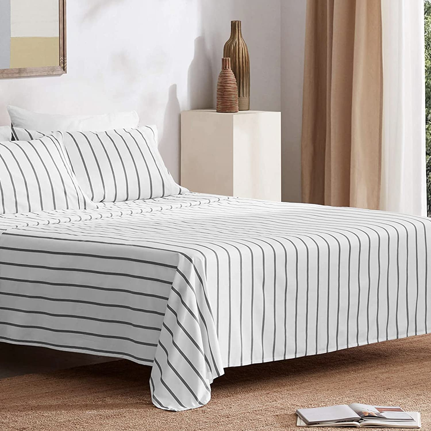 SLEEP ZONE 4-Piece Printed Stripe Sheet Set Queen Size - Double Brushed Microfiber Super Soft Breathable Bed Sheet Set with 16 inch Deep Pocket (Grey Stripe Printed on White)