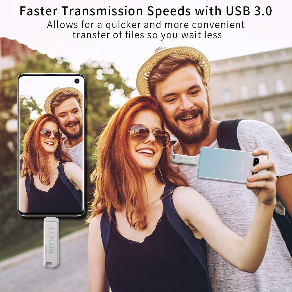 Flash Drive for TypeC/_ LUNANI Type C Flash Drive 256GB Flash Drive Type C USB 3.0 Flash Drive Type C High Speed OTG ffor Android,PC Drive USB Type-C(Silver)