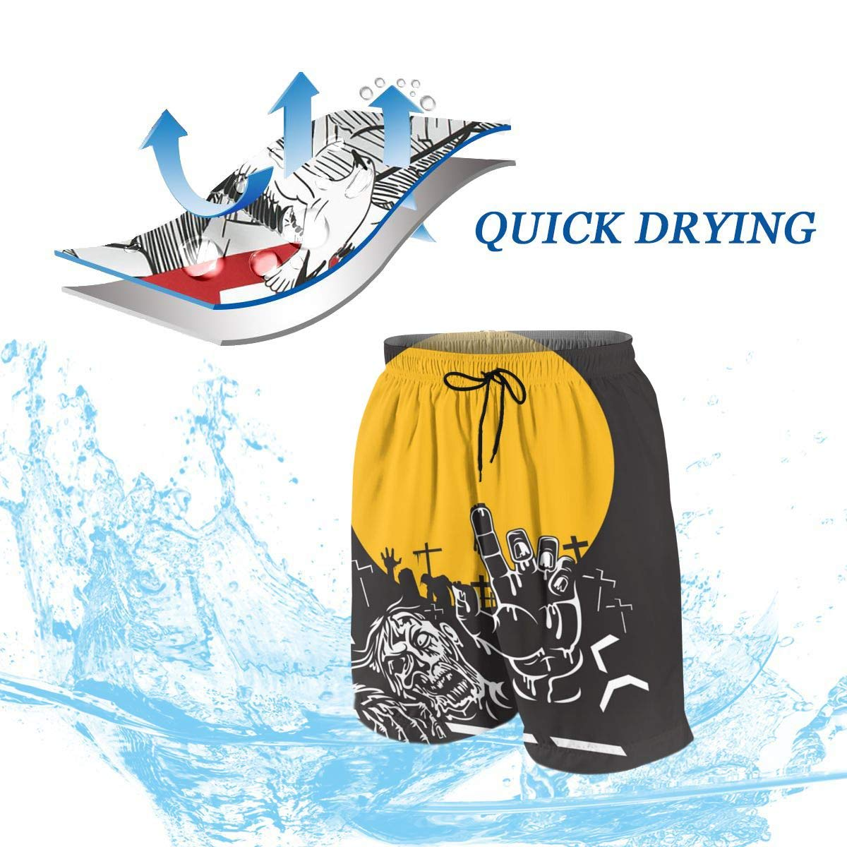 Boardshort Halloween Zombie Night Beach Shorts Polyester Breathable Swimsuit Teens Swim Pants for Beach