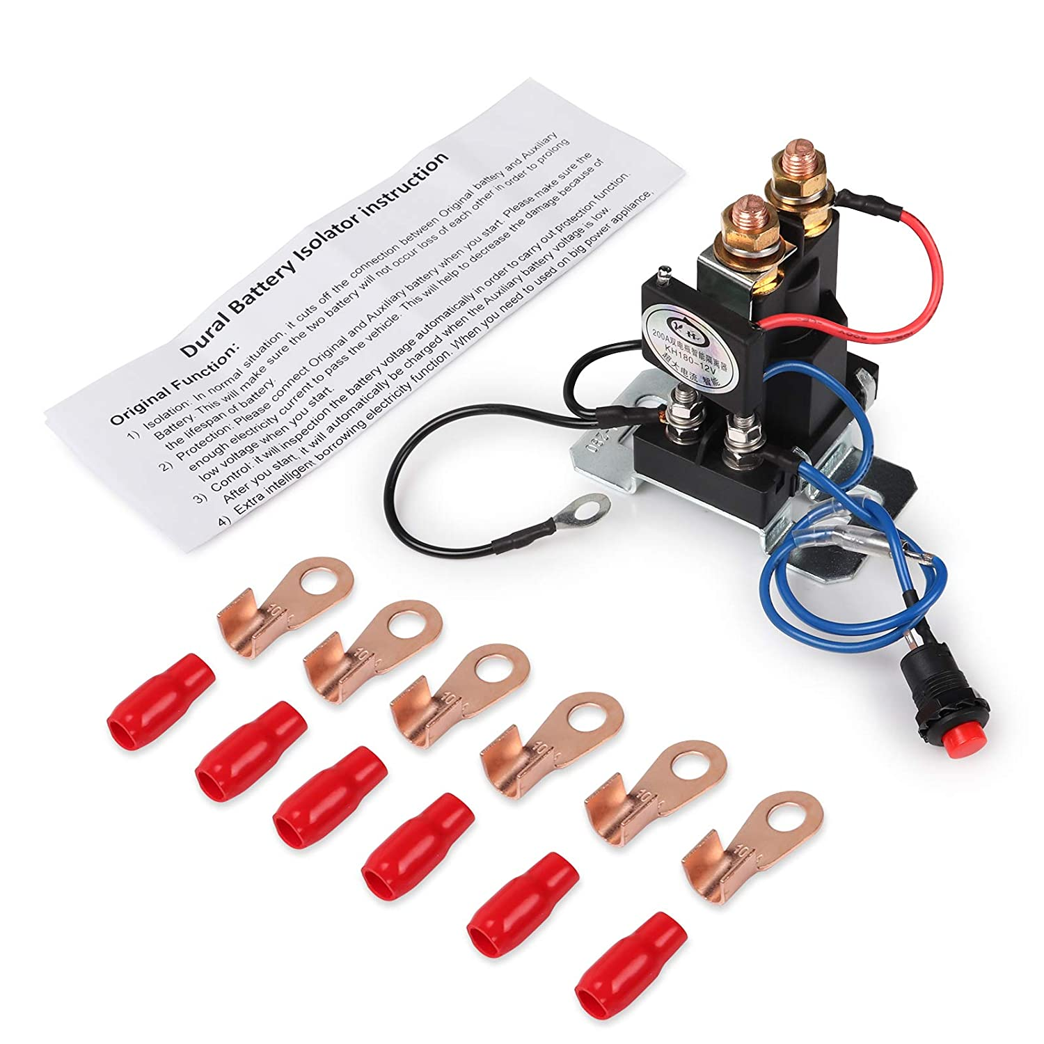 Vehicle Ehdis/® 12V 200 AMP Battery Isolator and Relay 4 Terminal Dual Battery Auto Increase Battery DC 12V-24V Suit for All Type of Cars Van Track