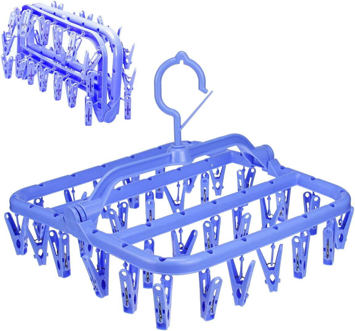 HAPY SHOP Foldable Laundry Hanger Drying Rack,Plastic Laundry Clip with 32 Clips,Clip Hanger Drip Drying Hanger Underwear Hanger with Clips for Socks, Bras, Lingerie, Clothes,Towel,Scarf,Blue