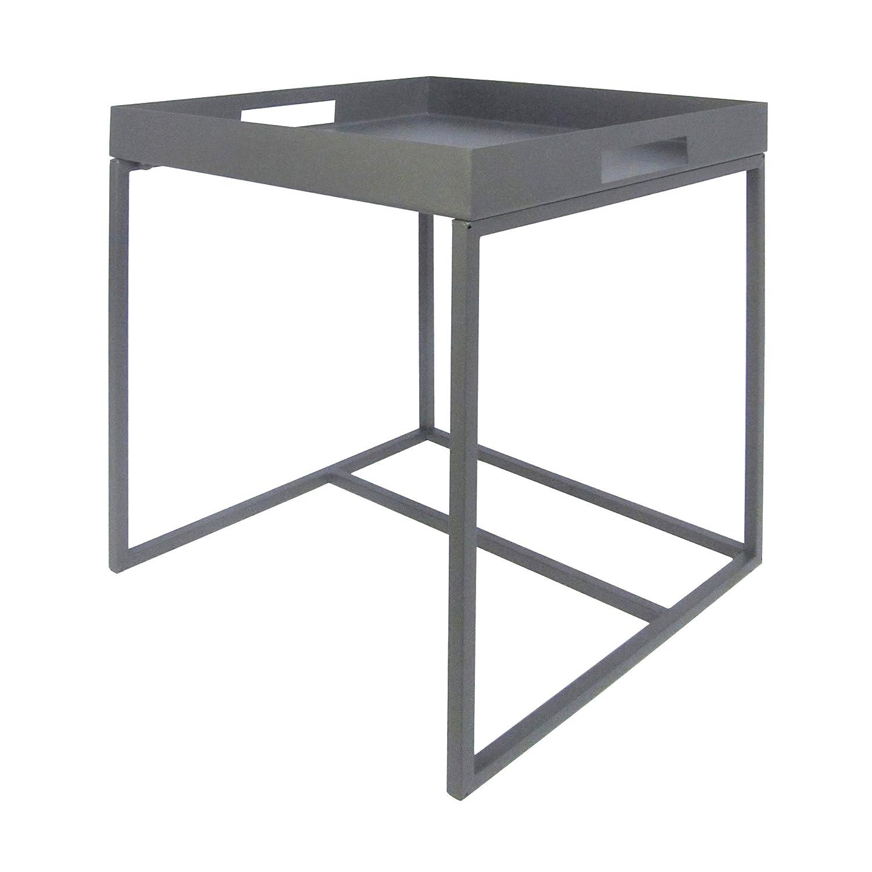 Beistelltisch aus Metall Blumentisch Planzentisch Deko Modern Design Eckig Quadratisch (Grau)