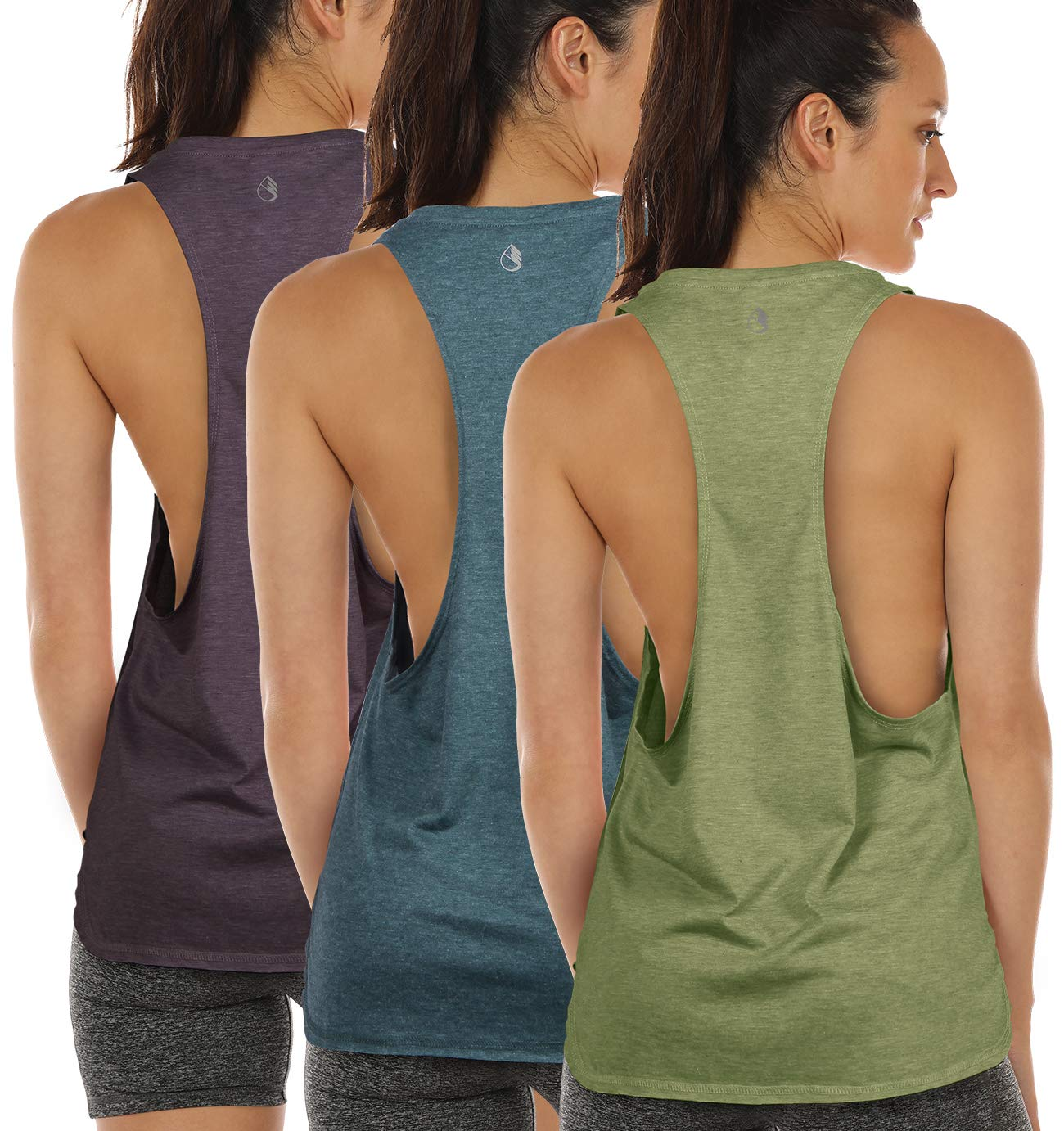 icyzone Workout Tank Tops for Women - Running Muscle Tank Sport Exercise Gym Yoga Tops Running Muscle Tanks(Pack of 3) (XS, Sweet Pea/Lake Blue/Plum Purple)